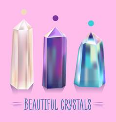 bright beautiful shiny crystals vector image vector image