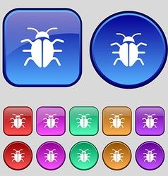 Bug virus icon sign a set of twelve vintage vector