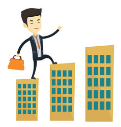 Business man walking on the roofs of buildings vector