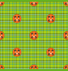 Checkered fabric green with orange buttons vector
