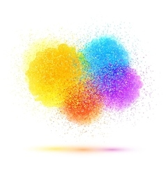 Colorful paint splash and powder cloud on white vector