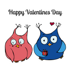 couple of cute owls love card design vector image vector image