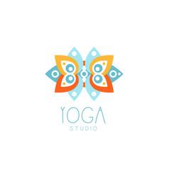 Creative floral ornament yoga logo vector