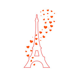 eiffel tower and red hearts vector image vector image