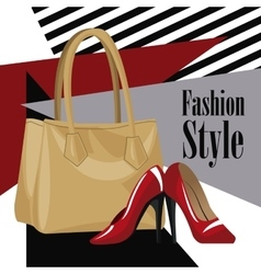 Fashion style accessory wo purse red heel vector