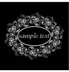 floral oval frame vector image vector image