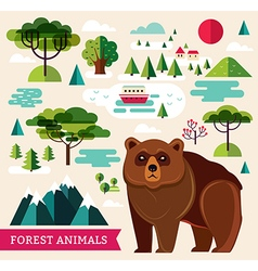 Forest animals - bear vector image