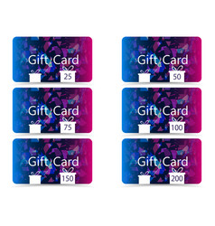 Gift card set chaotic particles pattern vector