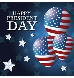 Happy president day balloons flag star background vector