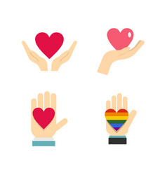 heart in hand icon set flat style vector image vector image