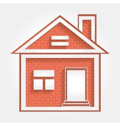 House on brick wall vector
