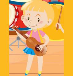 Little girl playing ukulele vector