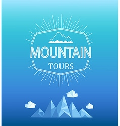 Mountain emblem in polygon style vector