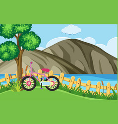 nature scene with bike parking by the lake vector image vector image