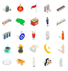 Rest in singapore icons set isometric style vector