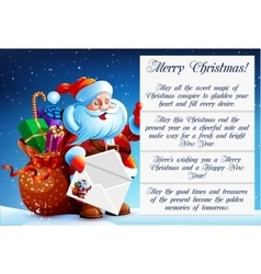 Santa Claus reads a letter vector image