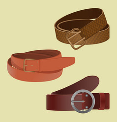set of leather waist belts isolated modern unisex vector image
