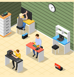 staff in service centre isometric composition vector image vector image