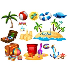 Summer set with toys and island vector image vector image