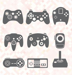 Video game controller silhouettes vector