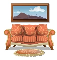 Vintage sofa with soft rug and picture vector