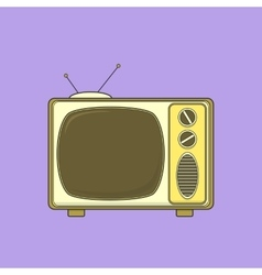 Vintage tv set isolated lineart color vector
