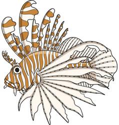 Color lionfish vector image