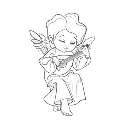 Toddler angel making music playing lute vector image