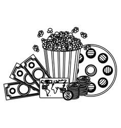 pop corn clipart movie and money icon vector image
