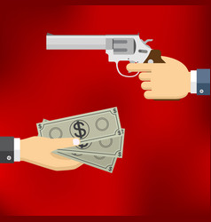 Hand holding pistol and hand giving money vector