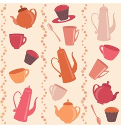 Seamless stripy pattern with tea and coffee items vector