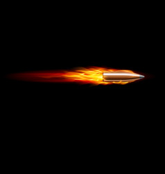 Moving red fiery gun bullet shot on black vector