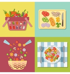 Cooking salad healthy fresh colorful vegetables in vector
