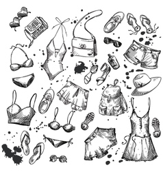 Collection of summer clothing and accessories vector