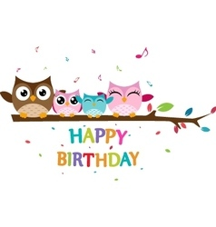 Happy owl family celebrate birthday vector