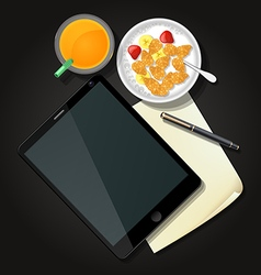 Tablet with cereal bowl and glass of orange juice vector