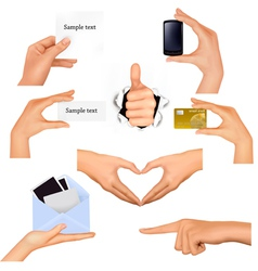 Hands holding business objects vector