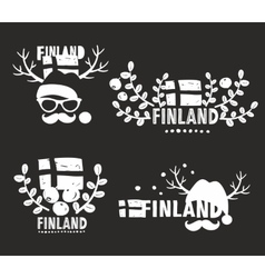 Set of labels of finland vector