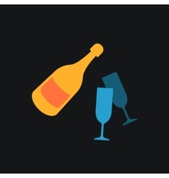 A bottle of champagne and glasses Icon vector image