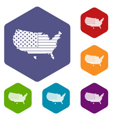 American map icons set hexagon vector
