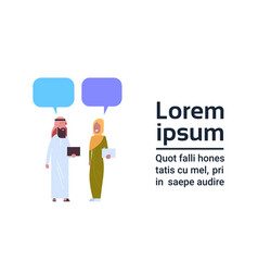 arabic man and woman chat bubble communication vector image vector image
