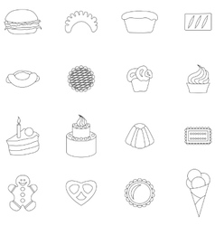 Bakery icons set thin line style vector image