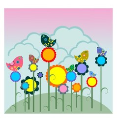 Birds on flowers vector image vector image