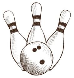 Bowling Pins and Ball vector image
