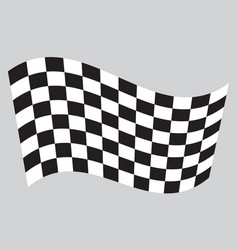 checkered racing flag waving on gray background vector image