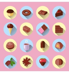 Chocolate icons flat vector image