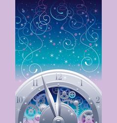 Clockwork with cogwheels minute hour hands vector