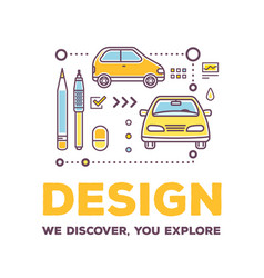 creative of linear car with drawing vector image vector image