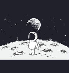 cute astronaut walking on moon vector image vector image