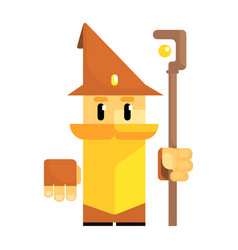 cute cartoon gnome in a brown hat with a staff in vector image